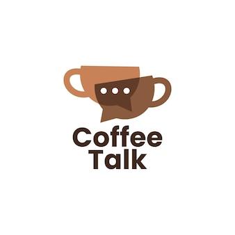 Café parler chat bulle forum logo icône vecteur illustration