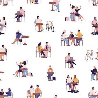 Café en plein air d'été avec modèle sans couture de dessin animé relaxant. hommes, femmes et enfants colorés, passer du temps ensemble au café vector illustration plate. loisirs de personne au bistro de rue
