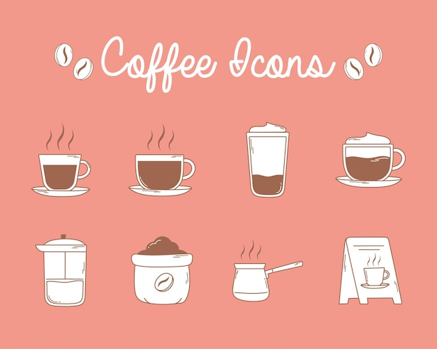 Café presse française tasses et icônes du conseil en ligne brune