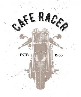 Café racer avec esquisse gravée du motocycle.