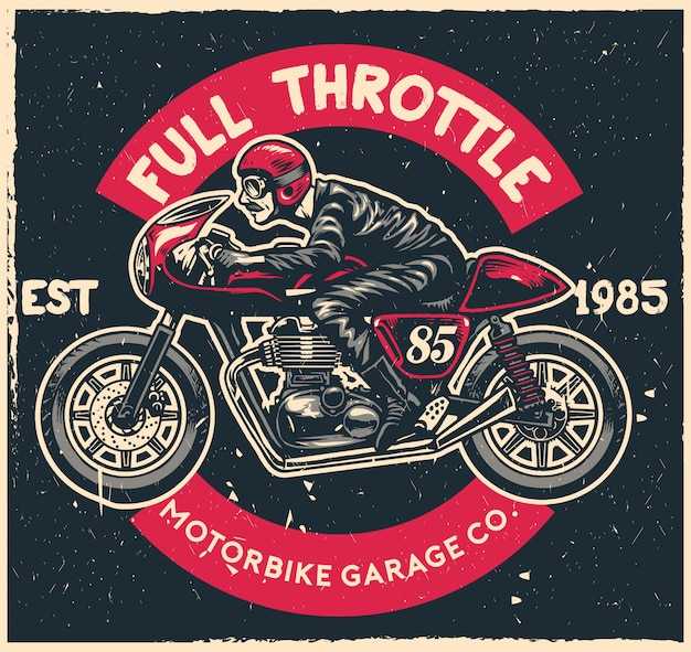 Café racer moto dans le style de dessin à la main