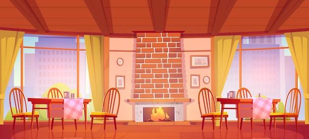 Café ou restaurant confortable avec cheminée et fenêtres avec vue sur la ville