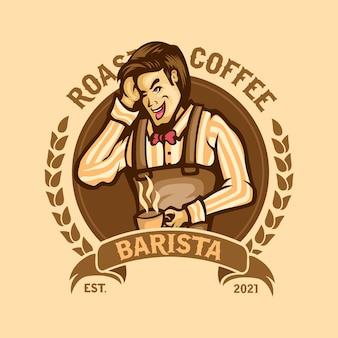 Café-restaurant mascotte logo premium vecteur