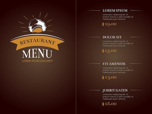 Café restaurant menu modèle identité vecteur maquette