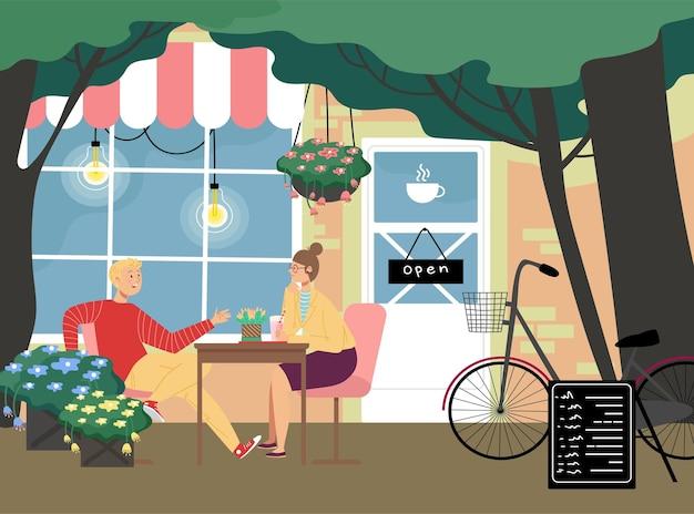 Café-restaurant romantique, charmant couple homme et femme