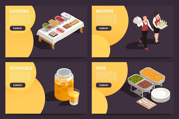 Café restaurants centre d'affaires hall restauration offre 4 pages web isométriques nourriture boissons serveurs service illustration vectorielle