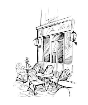Café de rue. croquis dessiné à la main.