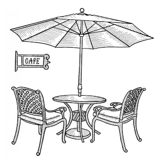 Café de rue dessiné à la main - table, deux chaises et ambrella ou parasol. croquis dessiné main pour la conception de menus, ville de restaurant de croquis, architecture extérieure, illustration vintage noir et blanc.