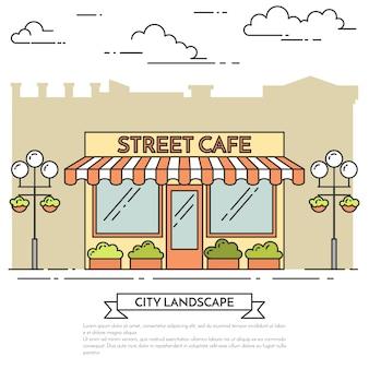 Café de rue avec des lampes, des fleurs sur fond blanc. illustration vectorielle dessin au trait.
