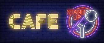 Café Stand Up Enseigne Au Néon. Microphone à barres incandescent dans un cadre circulaire