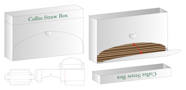 Café straw box emballage die cut template 3d