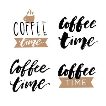 Café temps brosse lettrage calligraphie phrase vecteur texte