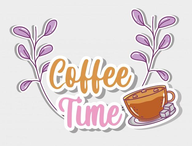 Café temps croquis à plat