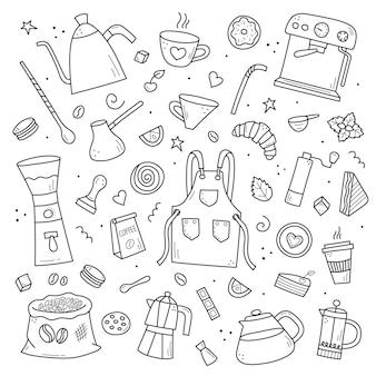 Café et thé dessinés à la main dans un style doodle illustration vectorielle, éléments noirs isolés sur fond blanc.