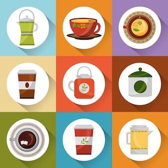 Café et thé ensemble de théière tasses de cafetière