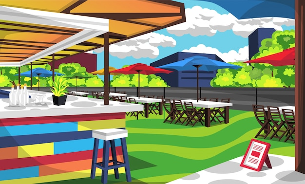 Café sur le toit avec parasol et tente