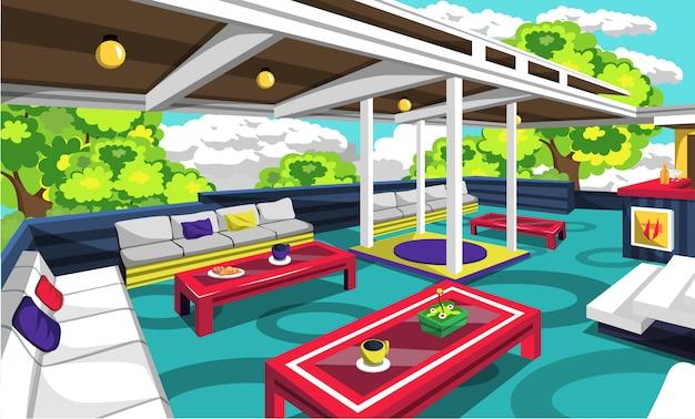 Café sur le toit en plein air avec un canapé confortable