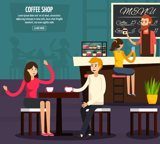 Café travailleur plat composition
