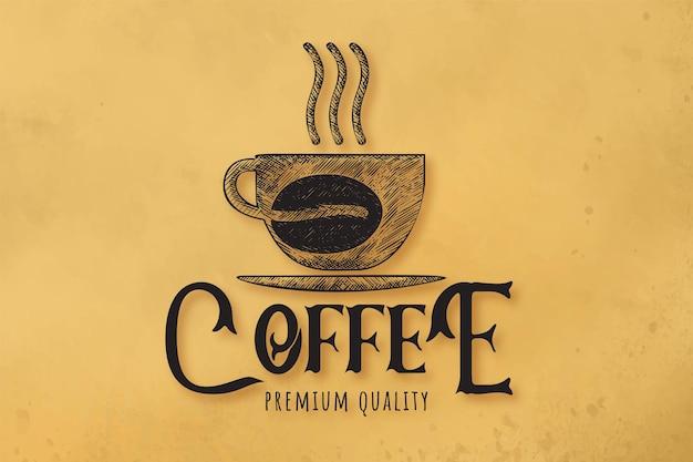 Café à vapeur dessiné à la main, tasse, verre, grain de café, logo de café