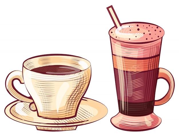 Café versé dans un verre et une tasse, boisson au latte