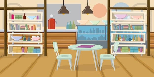 Café vide empty plat vector illustration