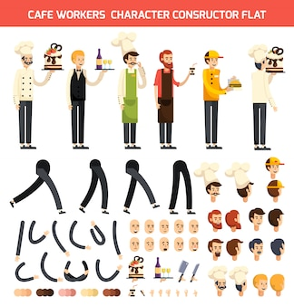 Cafe worker character icon set