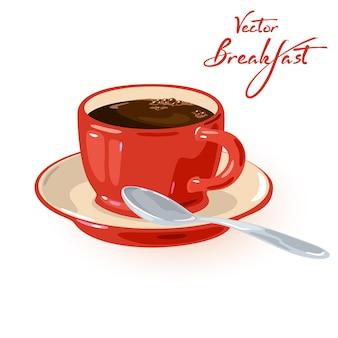 Caféine aromatique fraîche dans une tasse rouge sur soucoupe avec cuillère