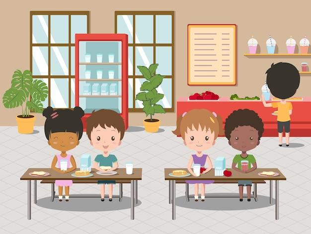 Cafétéria du petit-déjeuner de l'école