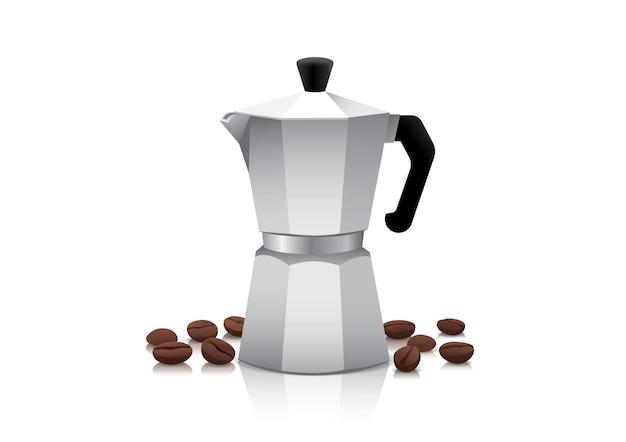 Cafetière ou cafetière réaliste avec des grains de café torréfiés.