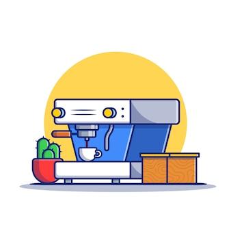 Cafetière, tasse, cactus et boîte icône illustration de dessin animé. concept d'icône de machine à café isolé premium. style de bande dessinée plat