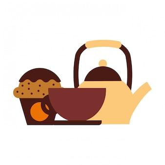Cafetière tasse et cupcake