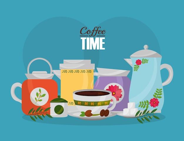 Cafetière et tasse de graines de sucre et décoration florale