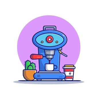 Cafetière, tasse, tasse et icône de dessin animé de cactus illustration. concept d'icône de machine à café isolé premium. style de bande dessinée plat