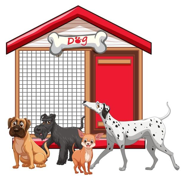 Cage de chien avec dessin animé de groupe de chien isolé