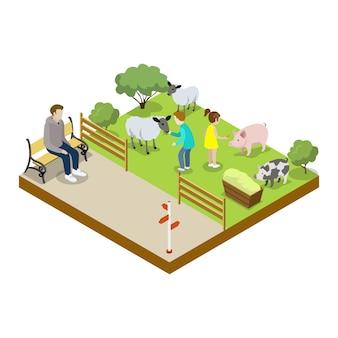 Cage avec moutons icône 3d isométrique