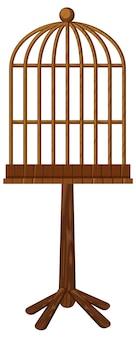 Cage à oiseaux en bois sur pied