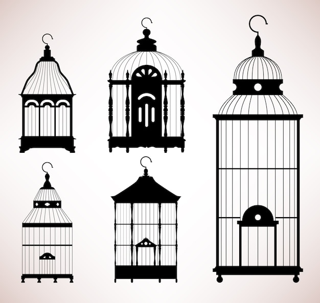 Cage à oiseaux silhouette rétro vintage de cage à oiseaux. un ensemble de conception de cages à oiseaux antiques.
