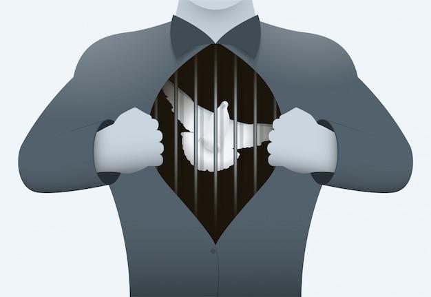 Cage avec un pigeon dans la poitrine.