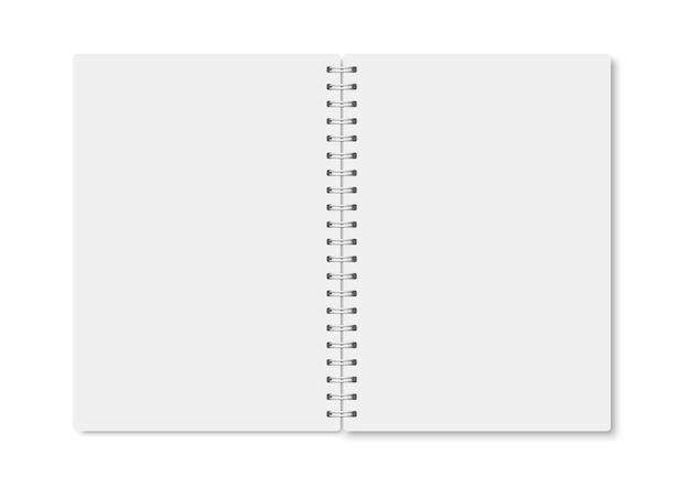 Cahier a5 réaliste blanc ouvert avec des ombres douces. cahier vierge vertical de vecteur avec spirale blanche métallique sur fond blanc. maquette d'organisateur ou d'agenda isolé.