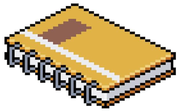 Cahier d'art pixel, feuilles, icône de jeu bit isométrique