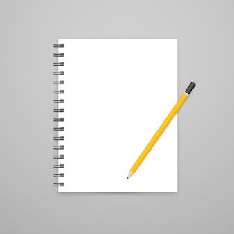 Cahier blanc ouvert vierge avec maquette de vecteur de crayon