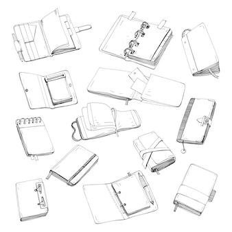 Cahier, bloc-notes, planificateur, organisateur, jeu de croquis dessiné à la main. collection d'illustrations de contours.