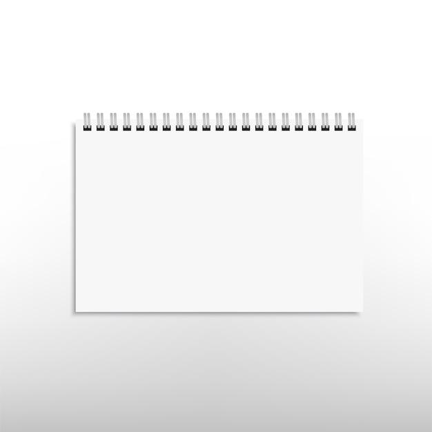 Cahier de bloc-notes spirale horizontal blanc réaliste isolé sur blanc. .