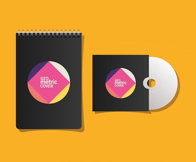 Cahier et cd à couverture géométrique