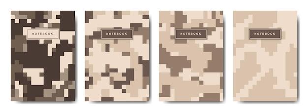 Cahier de couverture camouflage pixel militaire et armée