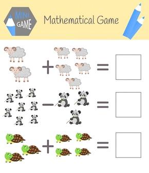 Cahier d'exercices sur les mathématiques pour l'éducation préscolaire. puzzles pour les enfants. apprenez à compter. résoudre des exemples