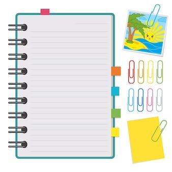 Un cahier ouvert avec des feuilles propres sur une spirale et avec des signets