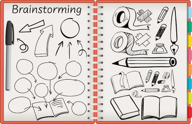 Cahier ouvert avec symbole de papeterie