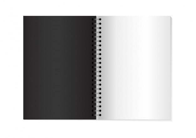 Cahier ouvert de vecteur 3d mock up.