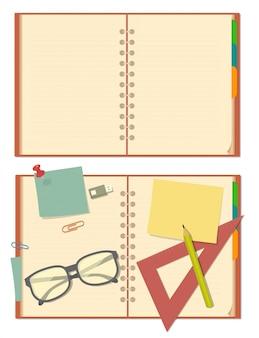 Cahier ouvert vierge avec des lunettes, un crayon, du papier, de la papeterie.